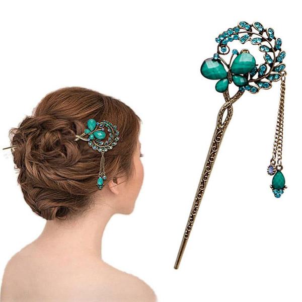 New Women Elegant Butterfly Flower Bobby Pin Fashion Hairpin Rhinestone Hair Stick Hot Sale