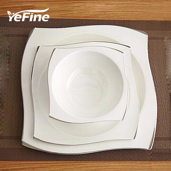 YeFine Advanced Bone Porcelain Tableware Set Square Dinner Plates Dishes High Quality White Ceramic Dinnerware Sets Soup Bowls T200107