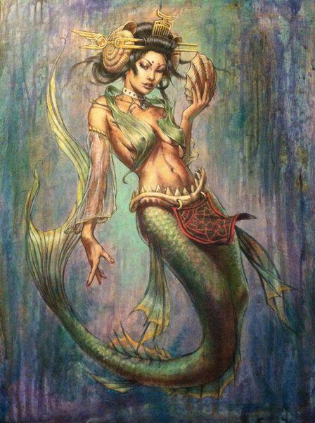 Cartoon Art The Mermaid, Tuval Modern Ev Sanat Decor3752 üzerinde Yağlıboya Resim Üreme Yüksek Kaliteli Giclee Baskı