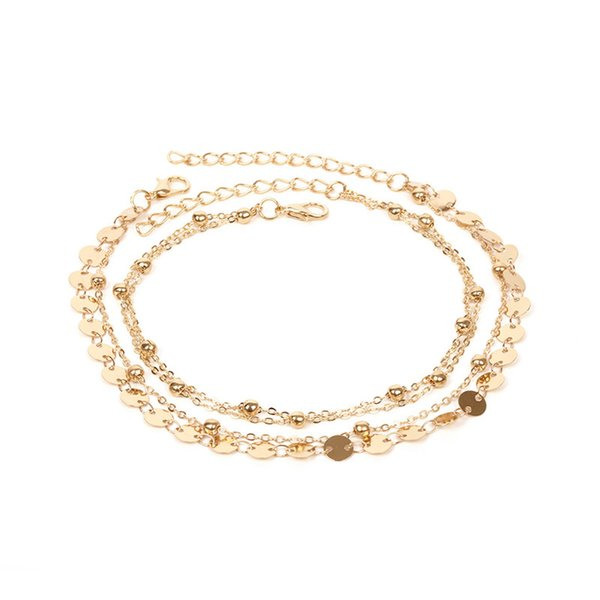 Bead Sequins Anklet Set For Women Beach Foot jewelry Vintage Statement Anklets Boho Style Party Summer Jewelry B2