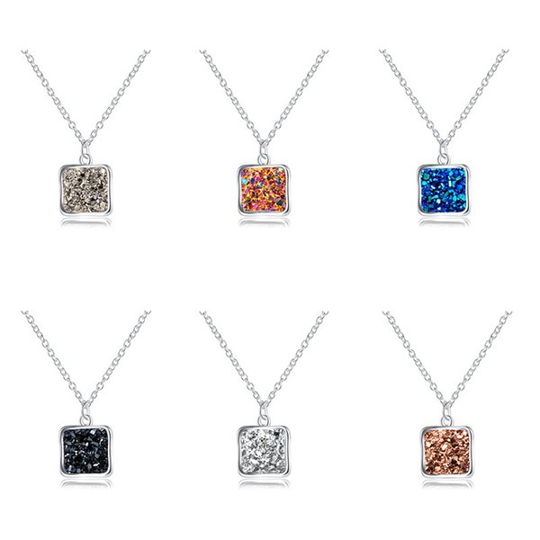 6-color European and American hot color silver square pendant, simple crystal cluster natural stone necklace Christmas gift