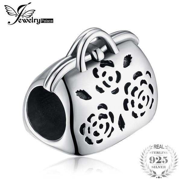 Jewelrypalace flor bolsa 925 sterling silver bead charme fit pulseiras moda feminina jóias diy bead para pulseiras