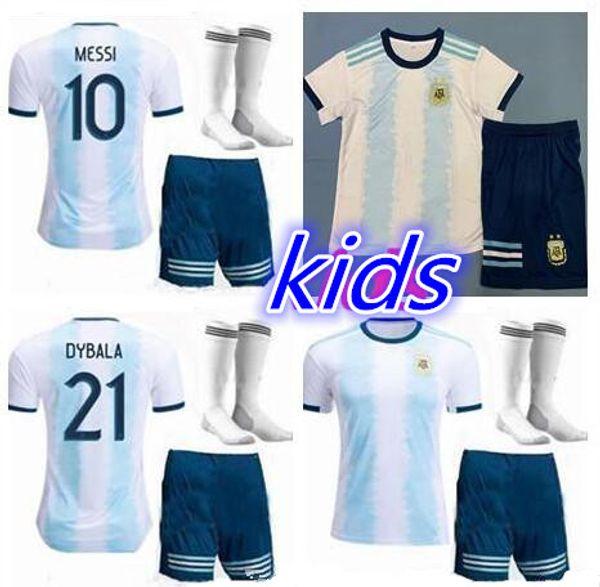 kids kit 2019 Copa América Argentina Casa camisa de futebol 19 20 Camisetas de futbol MESSI DYBALA HIGUAIN ICARDI camisa de futebol uniforme