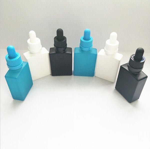 Необычные Прямоугольные Черные Стеклянные Бутылки Капельницы 30 мл Эфирное / масло для бороды Квадратное Стекло бутылка с жидкостью 1 УНЦ. Матовая Черная Бутылка