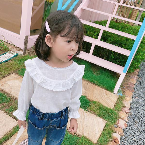 Girls T-shirts baby bottoming shirt 2019 autumn Korean style lace collar doll shirts long sleeves