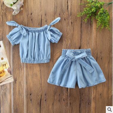 Kinder Designer Kleidung Mädchen 2 STÜCKE Outfit Set 2019 Sommer Baby Mädchen Weiche Denim Schulterfrei Bogen T-shirt Bluse Tops + Breite Bein Shorts Hosen Set