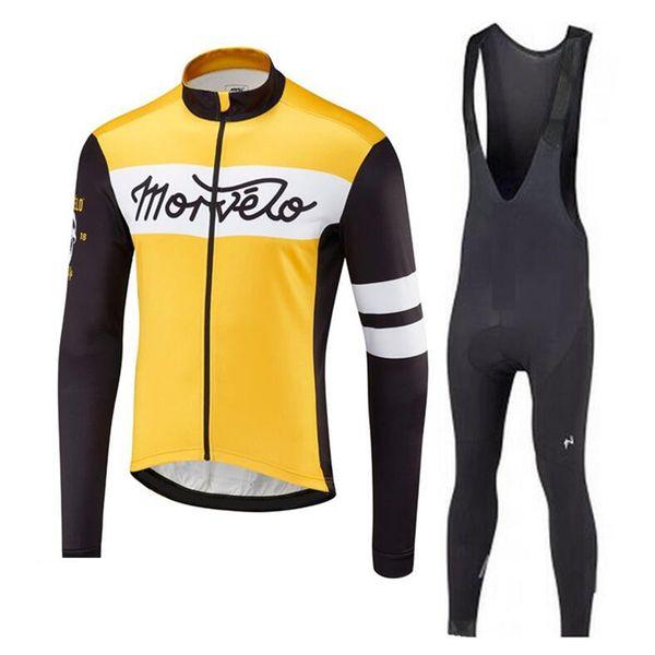 Hombres de alta calidad Morvelo Ciclismo Jersey Traje Hombres de manga larga Racing Bike Camisa bib pantalones conjunto Mtb Ropa de bicicleta maillot Ciclismo 120703Y
