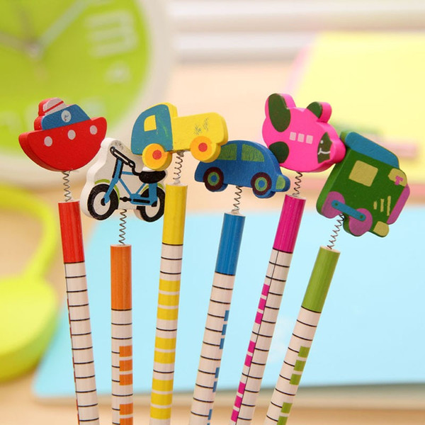 6 Pcs / pack , New Hot Selling Handmade Wooden Pencil Cartoon Vehicles Pencils Creative Trend Stationery Children Student Pencil