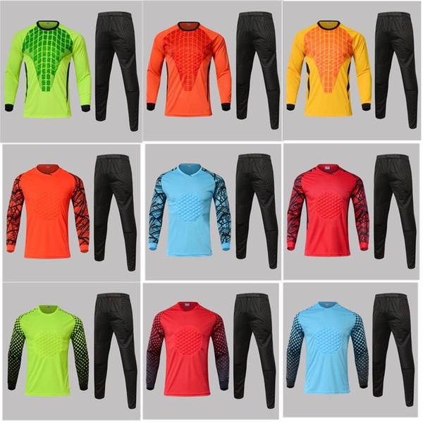 Novas crianças de futebol goleiro jersey set esponja dos homens de futebol de manga longa goleiro guardião uniformes goalie esporte formação terno calças + Top