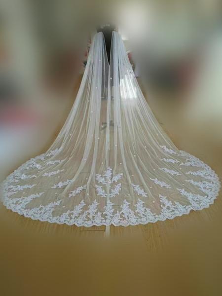 New Cathedral Length Bridal Cape Cloak Lace Long Wedding Dress Accessory Appliques Hot Sale Women Tulle Long Cape Cloak Shawl Wedding Access