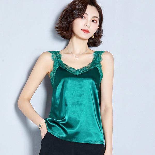 2019 Moda Marka kadın bluz Yaz kolsuz Dantel gömlek Katı V Yaka Rahat bluz Artı Boyutu Gevşek Kadın Üst Kırmızı Yeşil