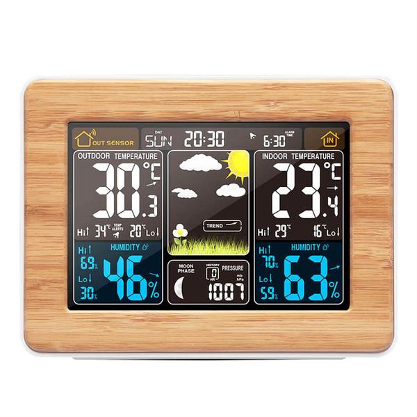 Digital Estação meteorológica Previsão do Relógio cor da tela de alarme eletrônico Umidade Relógio Calendário Perpétuo Temperatura