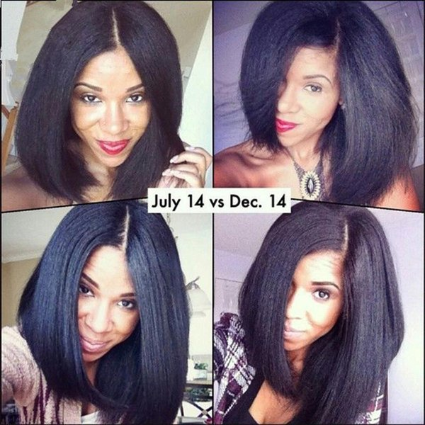 Brésilienne Yaki Droite Bob Perruque Full Lace Perruques de Cheveux Humains 130 Densité Pré Plumée Noeuds Blanchis Avec Des Cheveux De Bébé Pour Les Femmes Noires