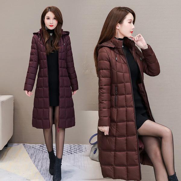 Tüy Pamuk dolgulu Giyim Kış Coat Kadınlar Ceket Slim Fit İnce Long aşağı Orta yaşlı kadınlar Elbise aşırı-Diz Çok Peri