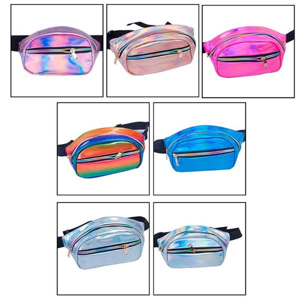 NoEnName_Null Yüksek Kaliteli Deri Holografik Fanny Paketi Kadınlar Lazer Serseri Seyahat Plaj Parlak Bel Çantaları Kalça Çanta Moda PVC
