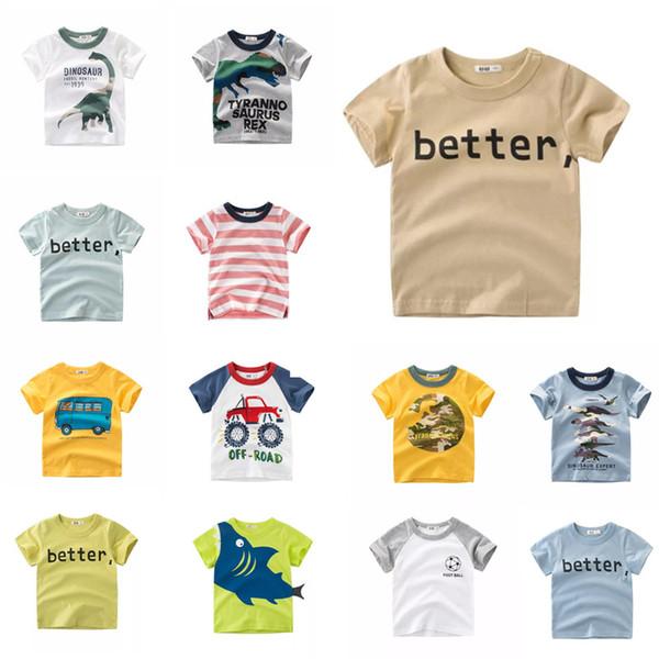 Designer Clothes Tee Summer Infant Cotton Striped Children Boys Girls Tee Cartoon Dragon Shark Girls Short Sleeve Better Letters T-shirts