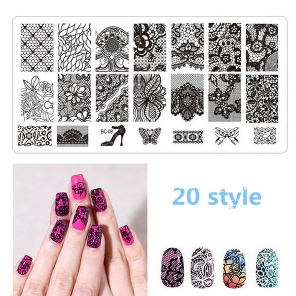 1 Pcs Nail Art Stamping Placas Imagem Grande Padrão de Transferência de Estampas de Impressão Prego Stencil Stamps DIY Ferramentas Carimbo De Unha