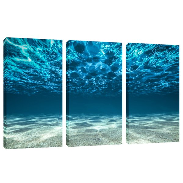 Amosi Art Blue Ocean Sea Wall Art 3 Panel Canvas Prints Picture Seaview Bottom Pictures Painting On Canvas Modern Home Office Decor Framed