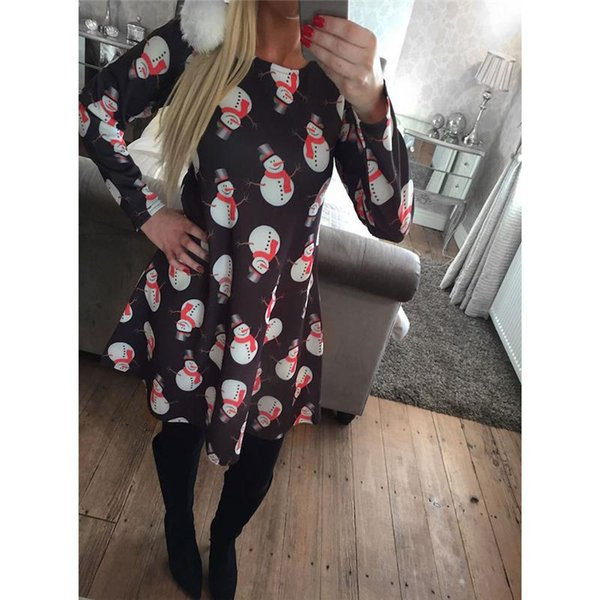 2017 Dresses For Womens With Print Christmas Vestidos Winter Dresses Plus Size Women Clothing Casual Dress Party Elegant A-Line Clothes