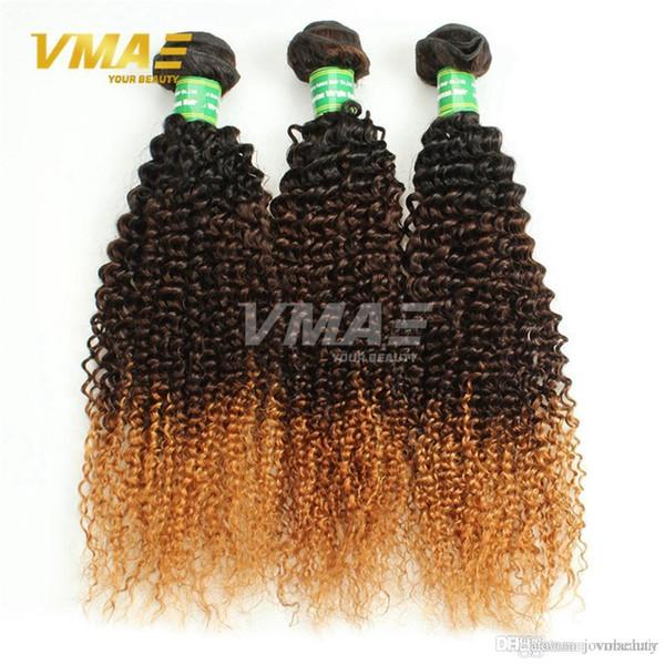 Top vente # 1b / 4/27 Bons cheveux brésiliens Ombre Extensions de cheveux bouclés Trois tons Ombre Tissage 3pcs Brésiliens cheveux humides et ondulés pas cher