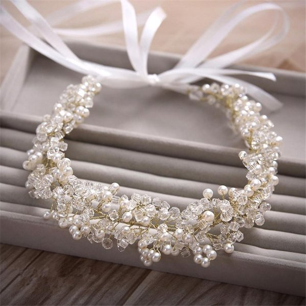 31*4cm Gold Bridal Wedding Bride Lady Girl's Pearl Crystal Ribbon Tiaras Headbands Hairband Hair Accessories Handmade Prom Jewelry Party