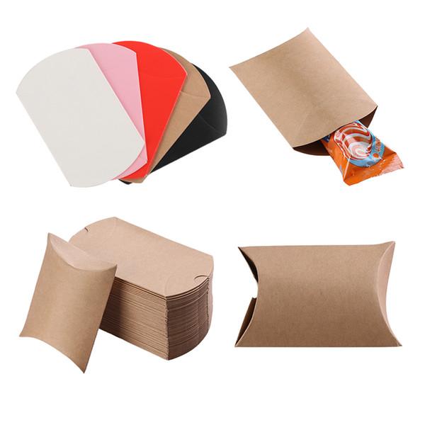 50pcs / PackWoman ManPillow Shape Paper Candy Boxes Wedding Favor Boxes Baby Party Bread Gift Bag Xmas Kraft Gift Bag Shopping