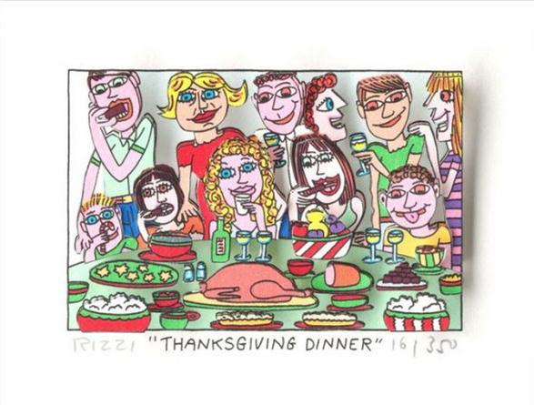 James Rizzi - Thanksgiving Jantar Home Decor pintado à mão HD cópia da pintura a óleo sobre tela Wall Art Canvas Pictures 191222