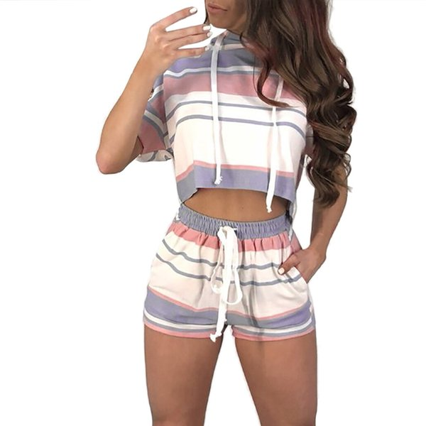 Women Short Sleeve Striped Crop Tops Blouse+Cord Shorts Outfit Set Sports Suit 2.28