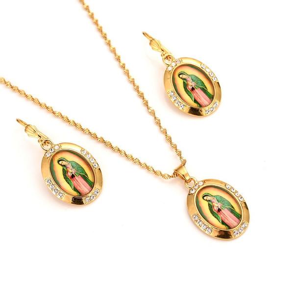 Pendientes Set colgante Leal Madre la Virgen María collar fino oro sólido GF católico cristal de la CZ del embutido joyería de la Navidad