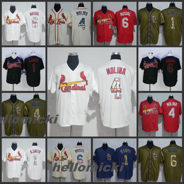 competitive price 7c1f8 fb25e Mens 6 Stan Musial Jerseys St. Louis 1 Ozzie Smith 4 Yadier Molina Baseball  Stitched Jersey White Cream Army Green Embroider Baseball Jersey UK 2019 ...