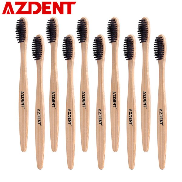 AZDENT 10Pcs/Lot Wooden Handle Toothbrush Environment Bamboo Charcoal Tooth Brushes Double Ultra Soft Black Heads Oral Cleaning C18112601