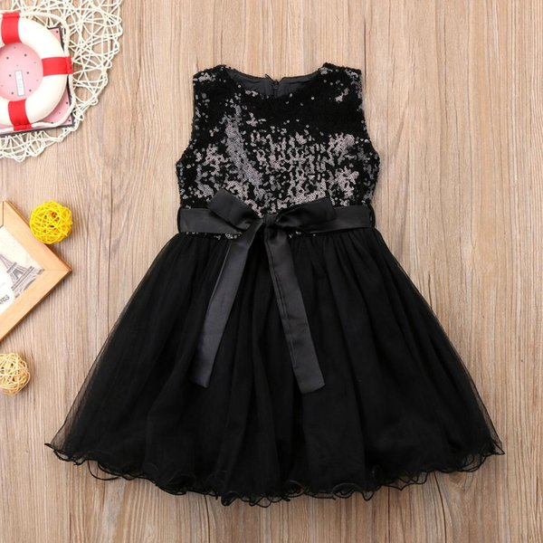 Black Sequins Princess Girls Dress Kid baby Girl Tulle Wedding Evening Party Dresses Child Prom dress New Year costumes for girl
