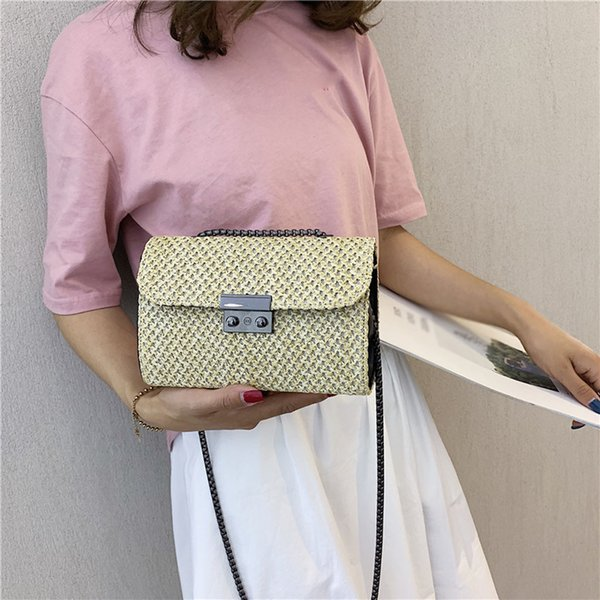 Fashion Wild Retro Shoulder Bag Women Messenger Chain Small Square Woven Bag Summer Straw Lock Beach Bags Bolsa Feminina #38