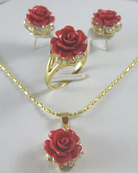 belle 12MM rouge corail sculpté fleurs boucles d'oreilles bague collier pendentif