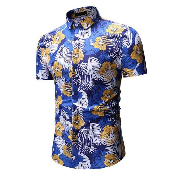 2019 New Summer Men Shirt Short Sleeve Beach Hawaiian Shirt Casual Slim Fit Floral Plus Size 3XL Print Shirts Men Dress