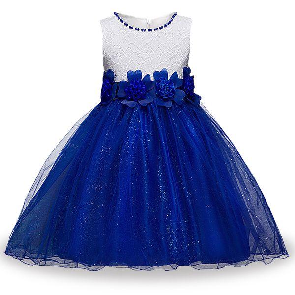 Kızlar Dantel Prenses Elbise Yuvarlak Boyun Kolsuz Çiçek Örgü Parti Elbise Yay Bel Kız Tasarımcı Elbise