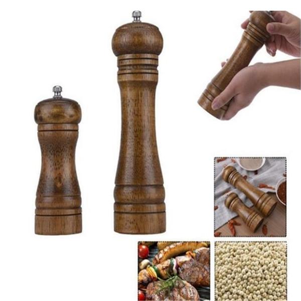 Molinillos de pimienta para sal de madera Molinillos de especias para sal y pimienta Molinos Molino de pimienta manual 2 tamaños Herramientas de cocina creativas 0513ayq