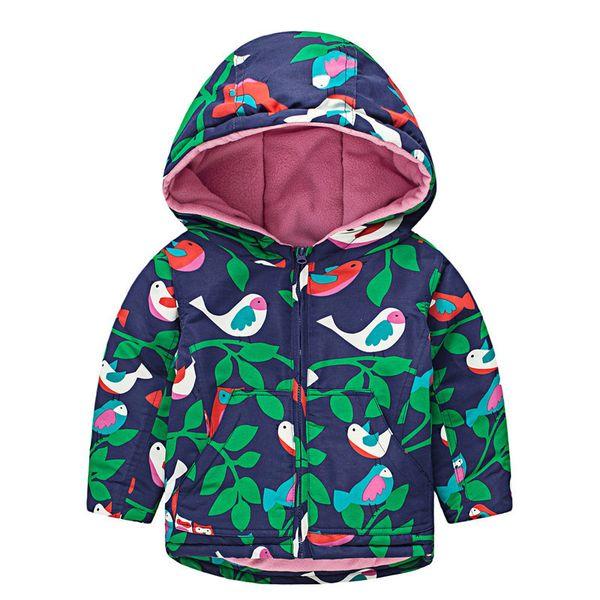 Girls Autumn Jacket Coat Bird Printed for Child Windbreaker Jacket Cotton Micro fleece Warm Jackets Kids Casual Hooded Coat