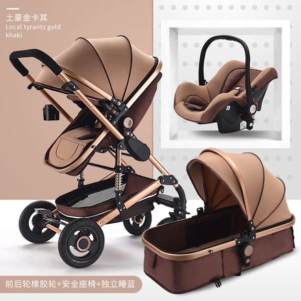 Luxury 3 in 1 baby troller with car eat high land cape pram two way newborn travel trolley walking foldable carriage