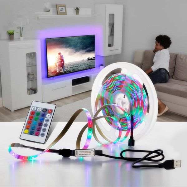 USB LED Şerit 2835SMD DC5V Su Geçirmez RGB Esnek LED Işık Bant 1 M 2 M 3 M 4 M 5 M TV Masaüstü PC Ekran Arka Plan Aydınlatmaları için