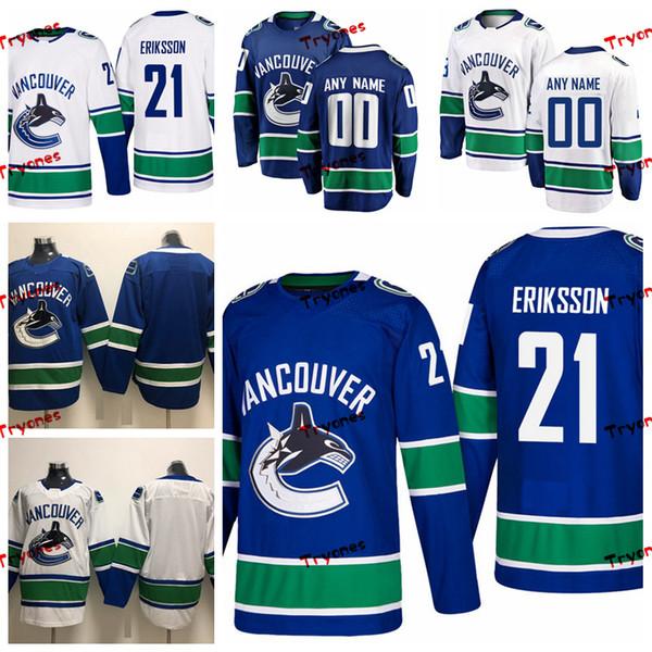Hommes de 2019 Vancouver Canucks Loui Eriksson Stitched Personnaliser Accueil Blue Shirts 21 Chandails de hockey Loui Eriksson S-XXXL