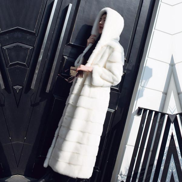Real Mink Fur Mulheres x-Long Coat com capuz mangas compridas de inverno de espessura quente Plus Size Female Mink Fur Jacket MX191207