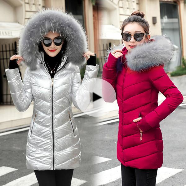 1e929dd64 Winter Jacket Women 2018 Winter Female Long Jacket Winter Coat Women Fake  Fur Collar Warm Woman Parka Outerwear Down Jacket Coat Brown Leather Jacket  ...