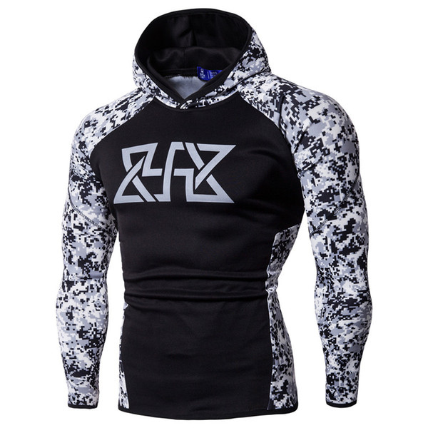Men's Sweaters 19SS Mens Gym Fitness Designer Hoodies Sports Camouflage Hooded Athletic Sweatshirts Casual Tops Fashion