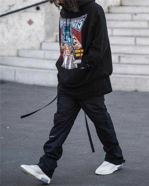 Nouveautés Homme Fashion Designers Design Noir de haute qualité Baggy Sweatpants Motard Hip Hop Sport ruban Pantalons pantalons Taille M-XXL