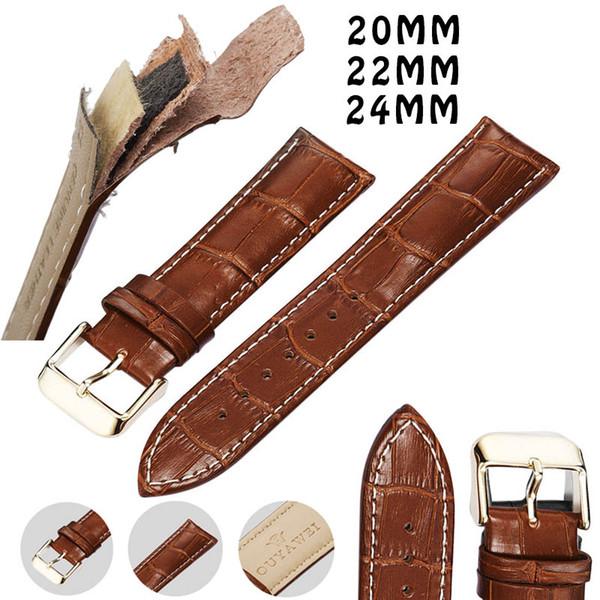 Deri Watch Band 20 22 24mm Hakiki Watchstrap Altın Toka Kahverengi Kayış Adam ve Kadınlar için Erkek ve Kız için Bileklik Saat Kayışı