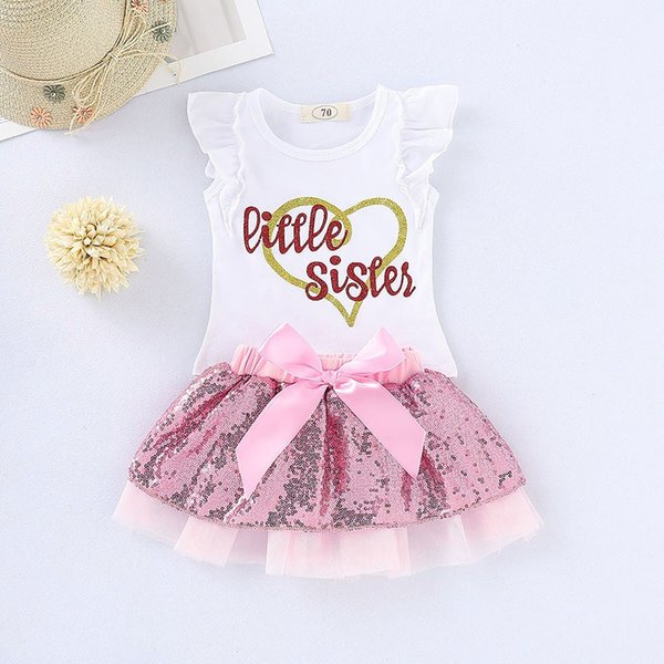 20Wedding Party Suit SetToddler Baby Girls Sleeveless T-shirt Tops+Sequin Bow Tutu Skirt match headband Summer button