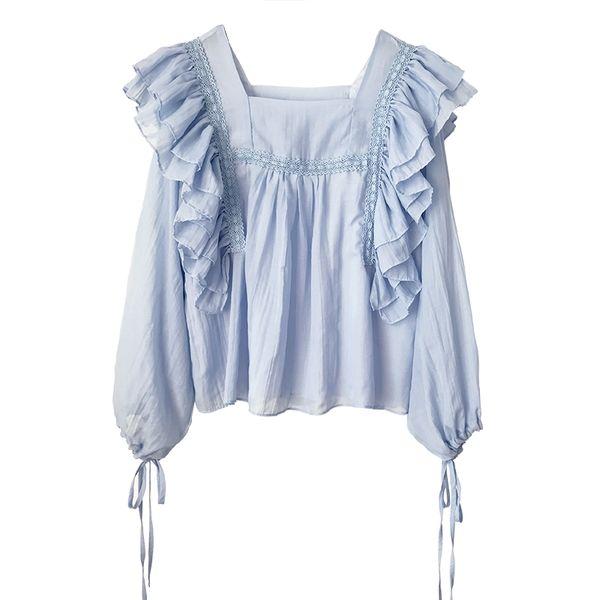 New Sweet Lotus Folha Lado Camisa, camisa de boneca, blusa de manga longa das mulheres, camisa de chiffon na primavera e no verão