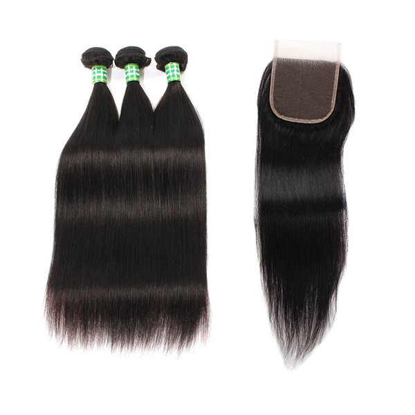 Straight Human Hair Wigs with Closure 4x4 Closure Unprocessed 100% Remy Human Hair Weave Brazilian Virgin Hairs