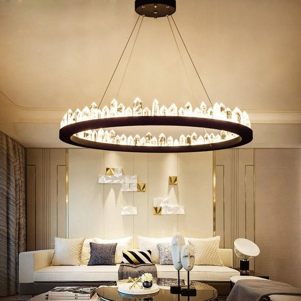 K9 Crystal Chandelier Led Luxury Hanging Lamp Round Industrial Suspension Luminaire For Living Bedroom Home Decaration Fixtures
